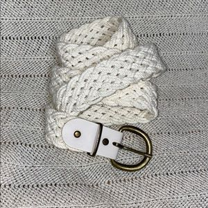 Vintage white braided fabric belt